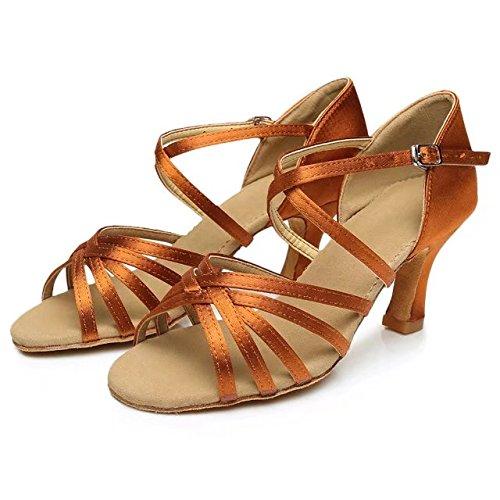 Cdsodance Satin Salsa Ballroom Latin Dance Zapatos Tacón 2.76 Pulgadas Bronce