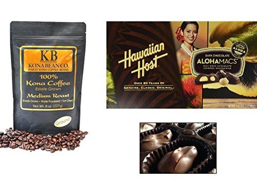 Kona Coffee & Hawaiian Entertainer Gourmet Coffee Chocolate Gift set 100% Kona Coffee Dark & Medium Roast Coffee Whole Bean & Ground Alohamacs Silky Dark Chocolate Macadamia Nuts (Medium Roast, Teach)