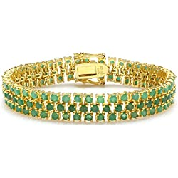 25.00 CT Round Cut Genuine Green Emerald 18K Yellow Gold Plated Sterling Silver Tennis Bracelet