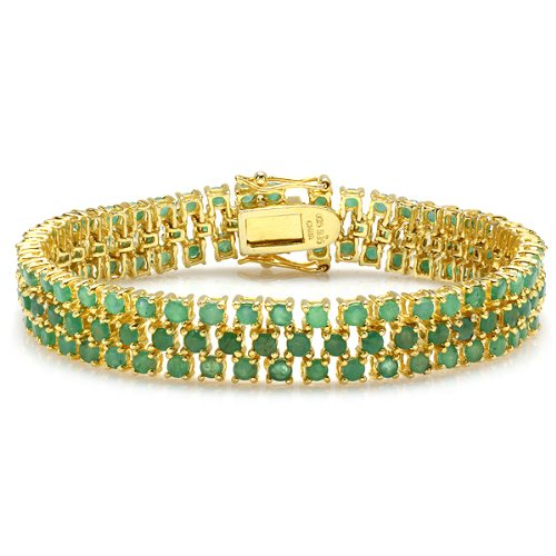 Genuine Emerald Tennis Bracelet - 25.00 CT Round Cut Genuine Green Emerald 18K Yellow Gold Plated Sterling Silver Tennis Bracelet