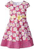 Youngland Girls' Daisy Ponte Dress with Polka Dot Hem