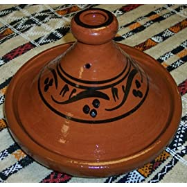 Moroccan Handmade Lead Free Safe Cooking Tagine Non Glazed Medium 10 inches Across Traditional 17 Non glazed cooking tagine Medium 10 inches in Diameter Ideal for cooking on top of any kind of stove and inside the oven Traps condensation to keep food moist and infused easy to clean