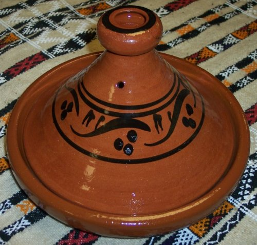 Moroccan Handmade Lead Free Safe Cooking Tagine Non Glazed Medium 10 inches Across Traditional 1 Non glazed cooking tagine Medium 10 inches in Diameter Ideal for cooking on top of any kind of stove and inside the oven Traps condensation to keep food moist and infused easy to clean