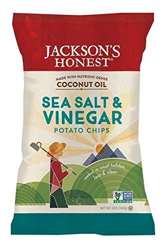 Jackson's Honest Salt and Vinegar Potato Chips Made With Coconut Oil, 5 Ounce
