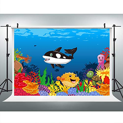 Cartoon Undersea World Wheal Backdrop for Photography, 9x6FT, Colorful Sea Animals Background,Great for Children Kids Birthday Baby Shower Banner HXLU288