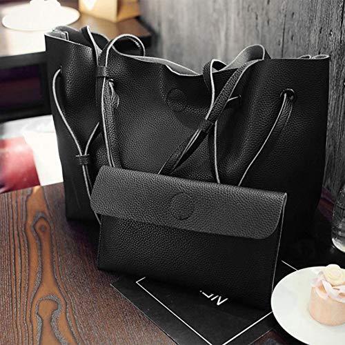 Femmes Fourre 2 Porter Mode Bandoulière Main tout Pu Pcs Black Femelle Conception Sacs Casual Cuir Des La Couleur Sac Dames Dasily Solide En set À aYFqYR