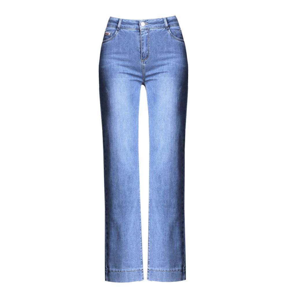 bluee Stretch Jeans Women's High Waist Straight Pants New Slim Wide Leg Pants Slim Pants Abdomen High Waist Loose Comfortable Version Pants Length 9297cm (color   bluee, Size   28)