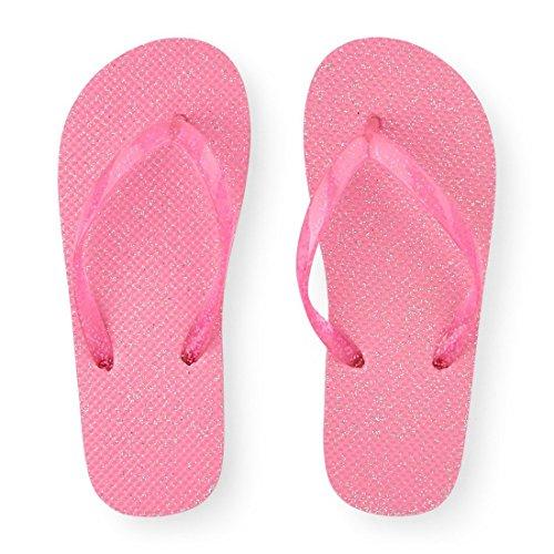 The Children's Place Girls' BG Glttr FF Flat Sandal, Pink, Y
