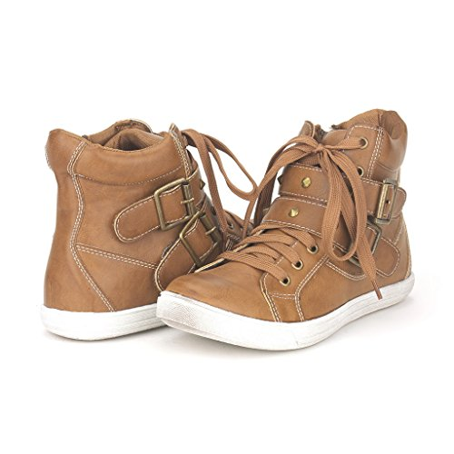 Dream Pairs NY-33 Women's Fashion Studded Double Velcro Straps Buckles Cuff Zipper Closure High Top Casual Sneakers Shoes New Brown Size 8