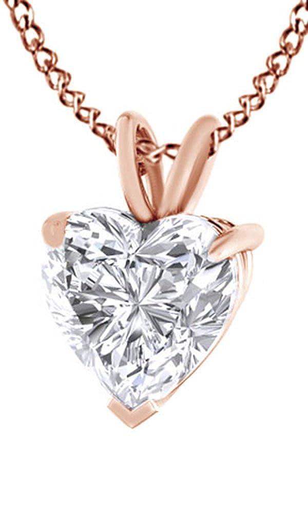 Weißszlig; Zirkonia Anhänger Halskette in 18 ct Gold über Sterling Silber 4,5 cttw) (Ring, 18 Karat verGoldet Sterling Silber) mit RotGold verGoldetes Silber (18 Karat)