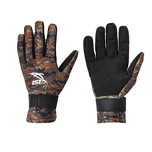 IST GLA01-09 2mm Camouflage Neoprene Spearfishing Glove with Amara Palm (Brown Camo, S)