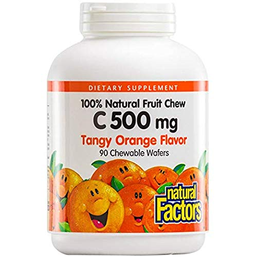 Natural Factors - Vitamin C 500mg, 100% Natural Fruit Chew, Tangy Orange, 90 Chewable Wafers (2 Pack)