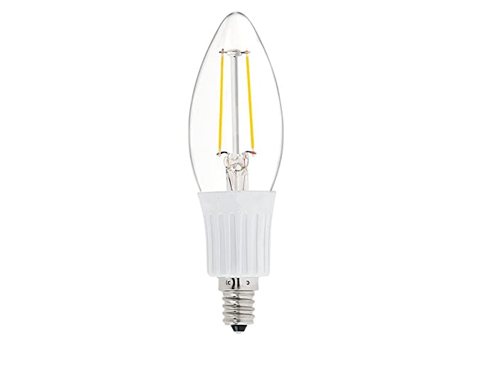 DC 12 Volt Chandelier Cool White 6000k 2W LED Candle Edison Filament C35 Light Bulb E12
