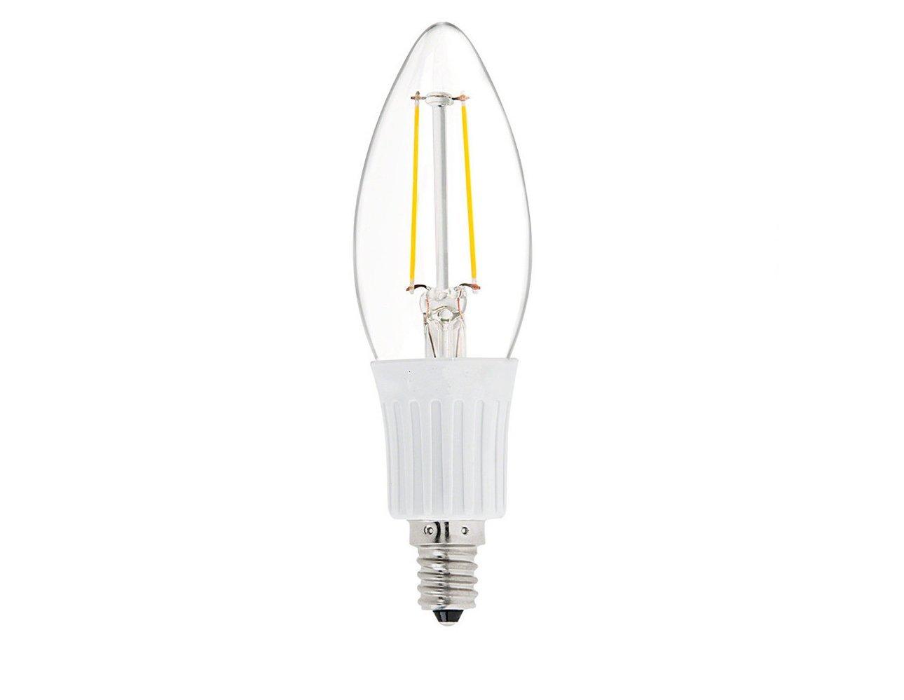 DC 12 Volt C35 E12 Warm White 2700K 2 Watt LED Filament Light Bulb MES Mini Screw Base Lamp Low Voltage Ikea Desk Top Outdoor Outside Landscape Machine Room Chandelier Pendant Night Lighting
