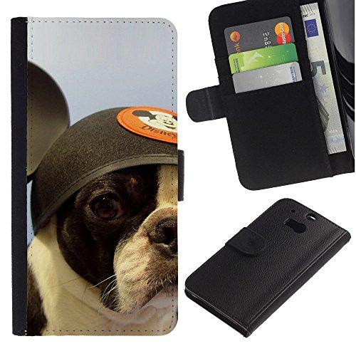 EuroCase - HTC One M8 - French bulldog Boston bull terrier dog - Cuero PU Delgado caso cubierta Shell Armor Funda Case Cover