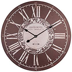 Large Wall Clock, Rustic Grand Hotel Decorative Clock w/ Roman Numerals, Silent Non-ticking Battery Operated MDF Wooden Clock for Living Room, Dining Room, Bedroom, Kitchen, Farmhouse -24 Inch, Coffee