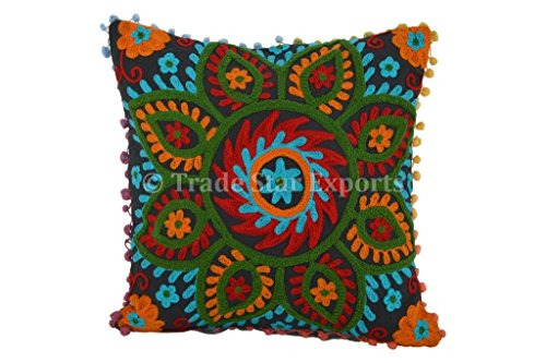 Suzani Outdoor Pillows, Pom Pom Pillow Cover 16x16, Bohemian Indian Pillow Cushion Cover, Decorative Pillow Cases