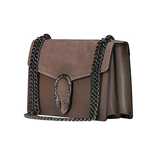 Pelle Made myitalianbag Accessori Pochette Tracola Liscia Borsa Pattina Spalla Camoscio Metallo Catena E A In Tortora Ronda Italy Zw8PrxpZ