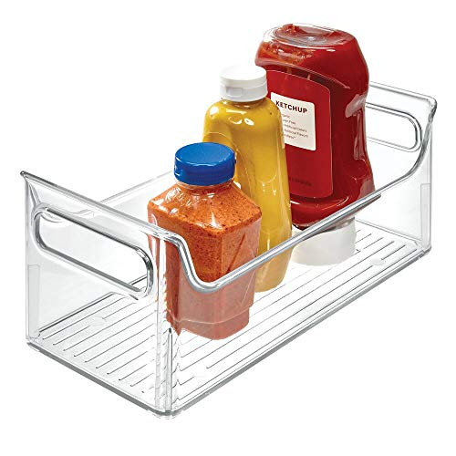(iDesign Fridge Plastic Storage Bin with Handles, Clear Container for Food, Drinks, Produce, Pantry Organization, BPA-Free, 5.5