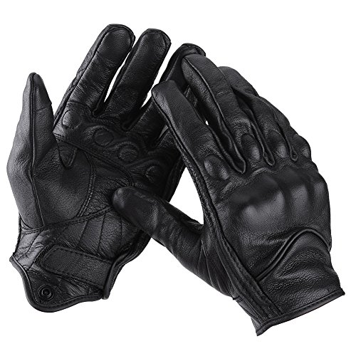 Qiilu Pair of Full Finger Leather Motorcycle Cycling Racing Gloves Motocross Protective Gears(L)