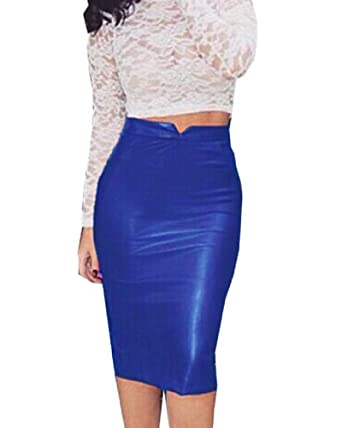992e56b25fd285 Minetom Femmes Sexy Vintage Taille Haute Midi Jupe En Cuir PU Elastiquée  Moulante Bodycon OL Crayon Skirt Clubwear