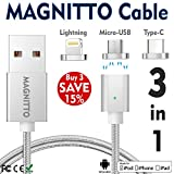 USB Type C Cable,Magnetic Charger Cable MAGNITTO USB to Lightning+USB C+Micro 3 in 1 Multiple 2.4A Quick USB Charging Cable for iPhone 7 7 plus/ 6 6s Plus/iPad Samsung Galaxy S6 S7 S8 plus Lg V20 Gen2