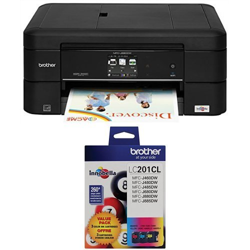 Brother Printer MFC-J680DW Wireless Color Photo Printer with Scanner, Copier & Fax With 3 Pack Ink - Wireless Printer Brother