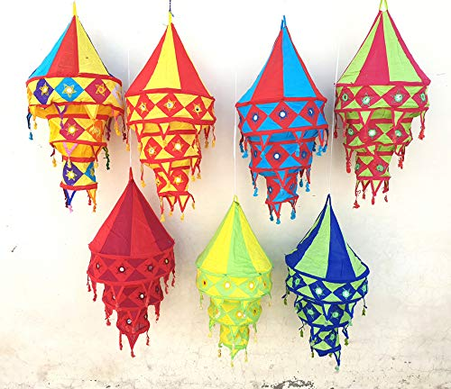 10 Pcs Mix Lot Decorative Cotton Fabric Lamp Shade Indian Handmade Cotton Lantern Collapsible Vintage Christmas Decor…