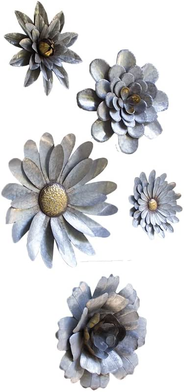 Kalalou Galvanized Metal Flower Wall Hangings, Set of Five