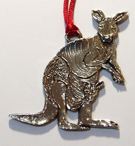 Hutton Metalcrafts Kangaroo & Joey Christmas Ornament. Fine Pewter, Made in USA.