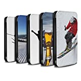 STUFF4 PU Leather Wallet Flip Case/Cover for Apple iPhone X/10 / Pack 10pcs Design / Skiing/Snowboarding Collection