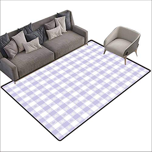 Anti-Slip Cooking Kitchen Carpets Lavender,Pastel Colored Classic Gingham Check Pattern with Delicate Small Blossoms,Lavander White 60