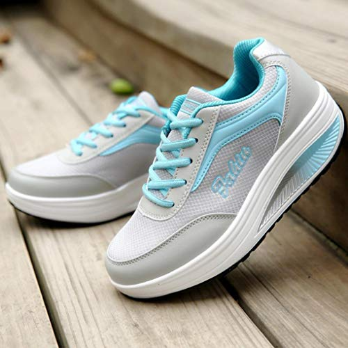 Blandos Aumento Zapatillas Azul Moda Mujeres Mujer Malla Fondo Balancín las De Para Zapatos fgqO86