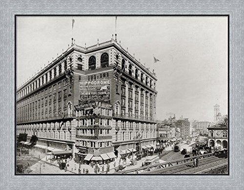 Macy's Department Store, New York, N.Y. by Print Collection Framed Art Print Wall Picture, Flat Silver Frame, 30 x 24 - New York Store Macys Department