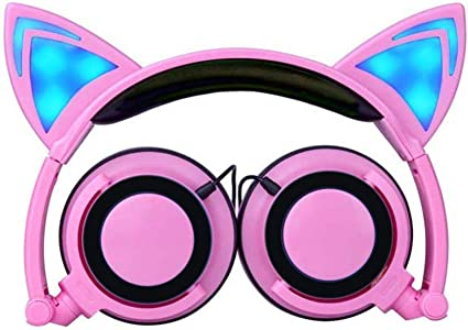 Over Ear Earphones Headphone Cat Ears Clips Led Flashing Glow In The Dark Foldable Gaming Music Earphone For Pc Computer Mobile Phone Earbuds Multi Color Pink Amazon Ca Sports Outdoors