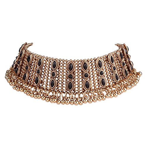 Girl Era Vintage Costume Jewelry Noble Queen Metal with Crystal Created Wide Choker Necklace(g) (Egyptian Girl Sexy)