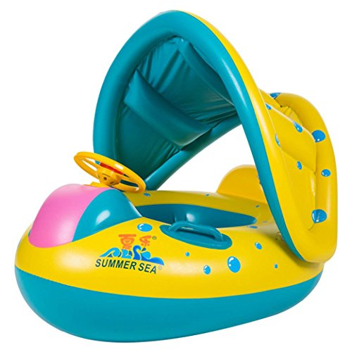 Leegor Premium Inflatable Sunshade Swimming Pool Ring Float Boat Seat Baby Kids Toddler Raft Beach Raft Boat Sea Toys Cute Car Modeling Tube by Leegor