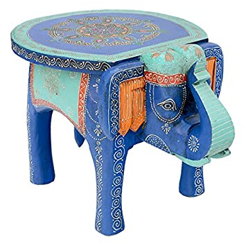 Large Hand Painted Elephant Table Royal Blue Kids Side Animal Fair Trade