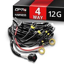 OPT7 12 Gauge 500W Quad 4 Way Wiring Harness w/Switch for LED Light Bars - 21ft Dimmer Strobe Waterproof Relay Splitter