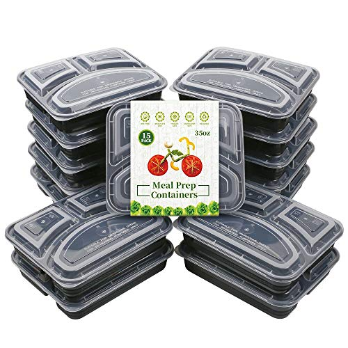 Meal Prep Containers [15 Pack] 3 Compartment with Lids, Food Storage Bento Box, BPA Free, Stackable, Reusable Lunch Boxes, Microwave, Dishwasher and Freezer Safe (35 oz)