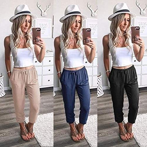 Onsoyours Mujer Color Sólido Pantalones De Cintura Alta Flojo Verano Casual Pantalones Harem con Bolsillos Pantalón Deportivo con Cordones 17