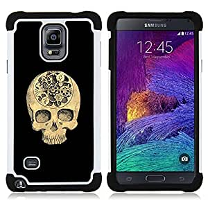 Jordan Colourful Shop - Skull Time Black Meaning Deep Death For Samsung Galaxy Note 4 SM-N910 N910 - < Llevar protecci????n de goma del cuero cromado mate PC spigen > -