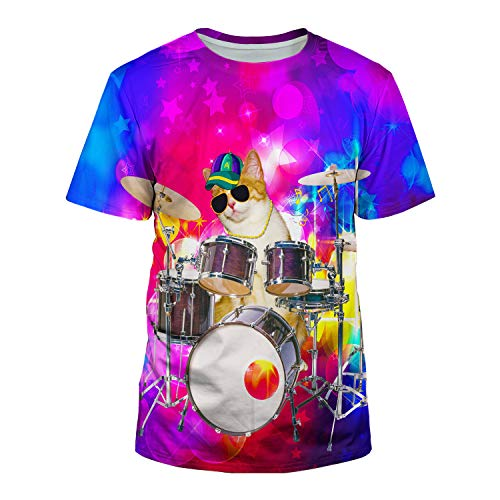 Kayolece Purple T Shirts for Youth 3D Unisex Drum Cat Rave Hip Hop Swag Top Tees Band Clothes S ()