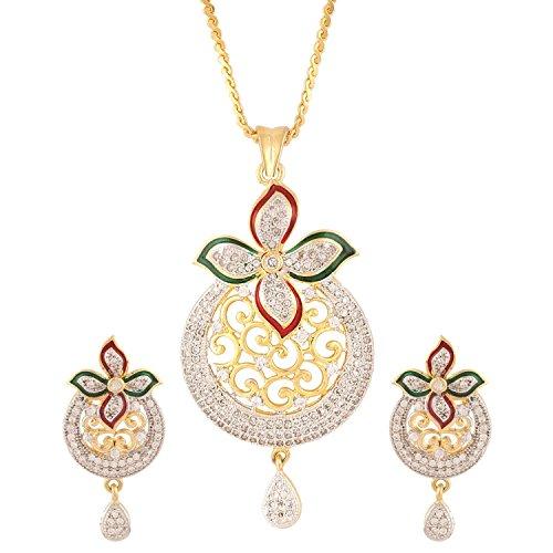 swasti joyas cz Zircon conjunto de joyas de moda en forma de flor colgante pendientes para las mujeres