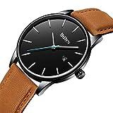Mens Watches Fashion Minimalist Ultra-Thin Quartz Analog Leather Wrist Watch 30M Waterproof Watch