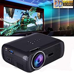 1080P 7000 Lumens Projector Mini LED LCD Home Theater Cinema Multimedia HDMI 3D