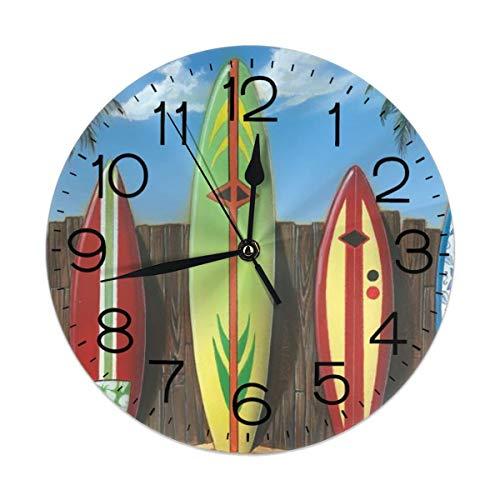 - TMVFPYR Palm Tree Beach Surfboard Wall Clock Silent & Non-Ticking Round Clock Quiet Desk Clock for Home Office School