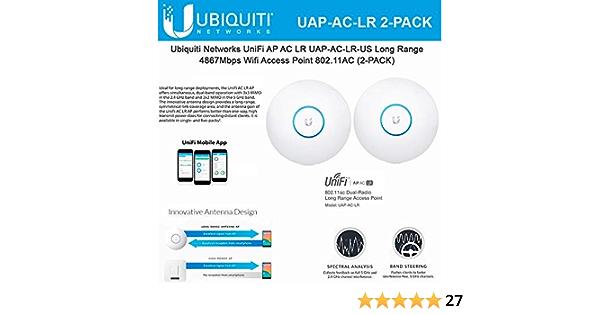 Ubiquiti UAP-AC-LR - Paquete de 2 Unidades de Cables de CA (802.11AC, Gigabit PoE)