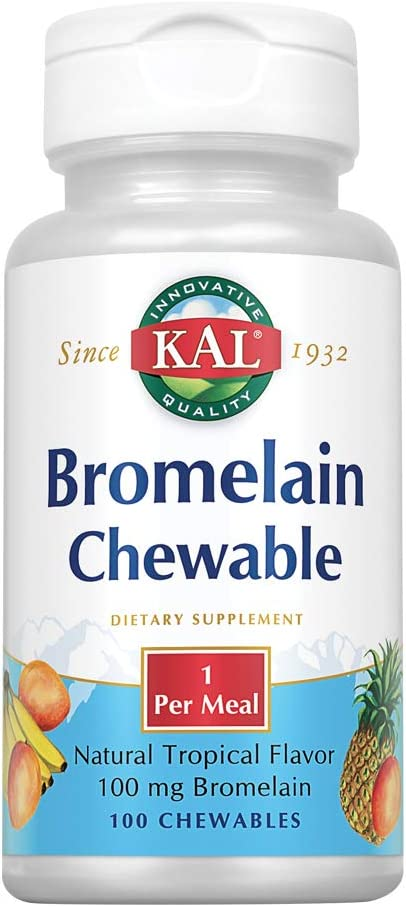 KAL Bromelain Chewable Tablets, Tropical Flavor, 100 mg, 100 Count: Health & Personal Care