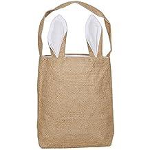 Sdtdia Easter Bunny Bags Easter Egg Hunt Basket Bag Bunny Ears Design Easter Gift Bag Funny DIY Gift Bag for Your Kids Party Gift Bags (White,Jute)